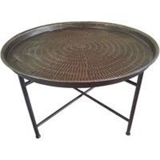 Brunei Hammered Brown Metal Coffee Table On Iron Stand Furniture