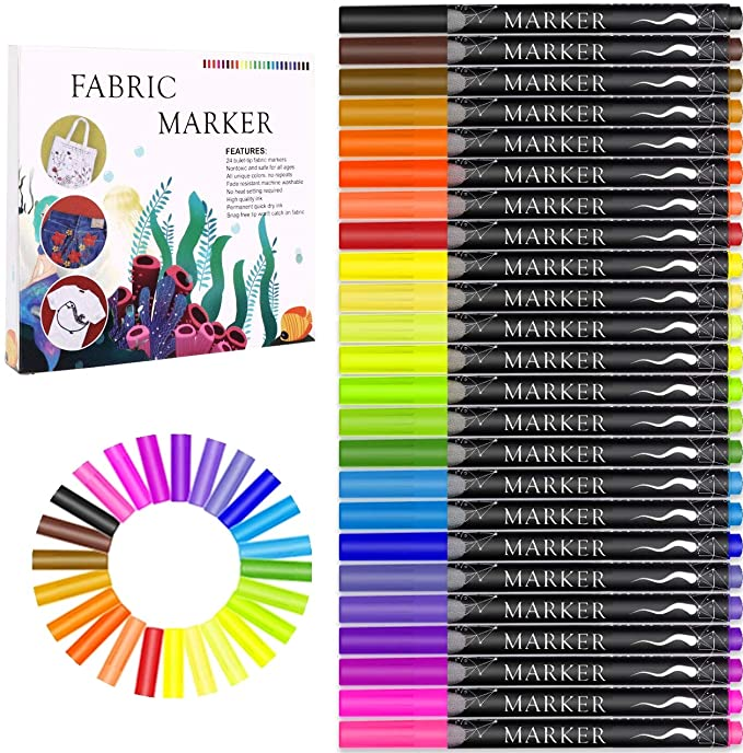 Amazonsmile Fabric Marker Emooqi 24 Colors Textile Marker No Bleed Fabric Pen Permanent And Washable T Shirt Ma Fabric Markers Fabric Pen Tshirt Decorating