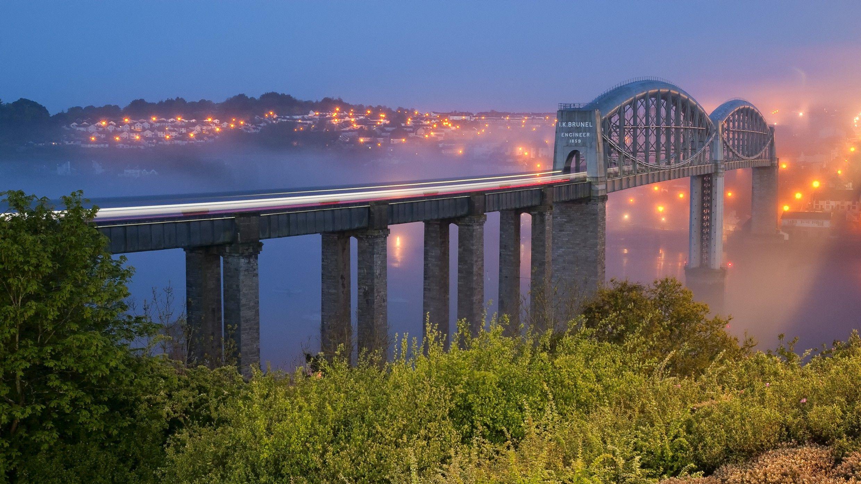Mist Bridges Shrubs Cities Evening Street Wallpaper