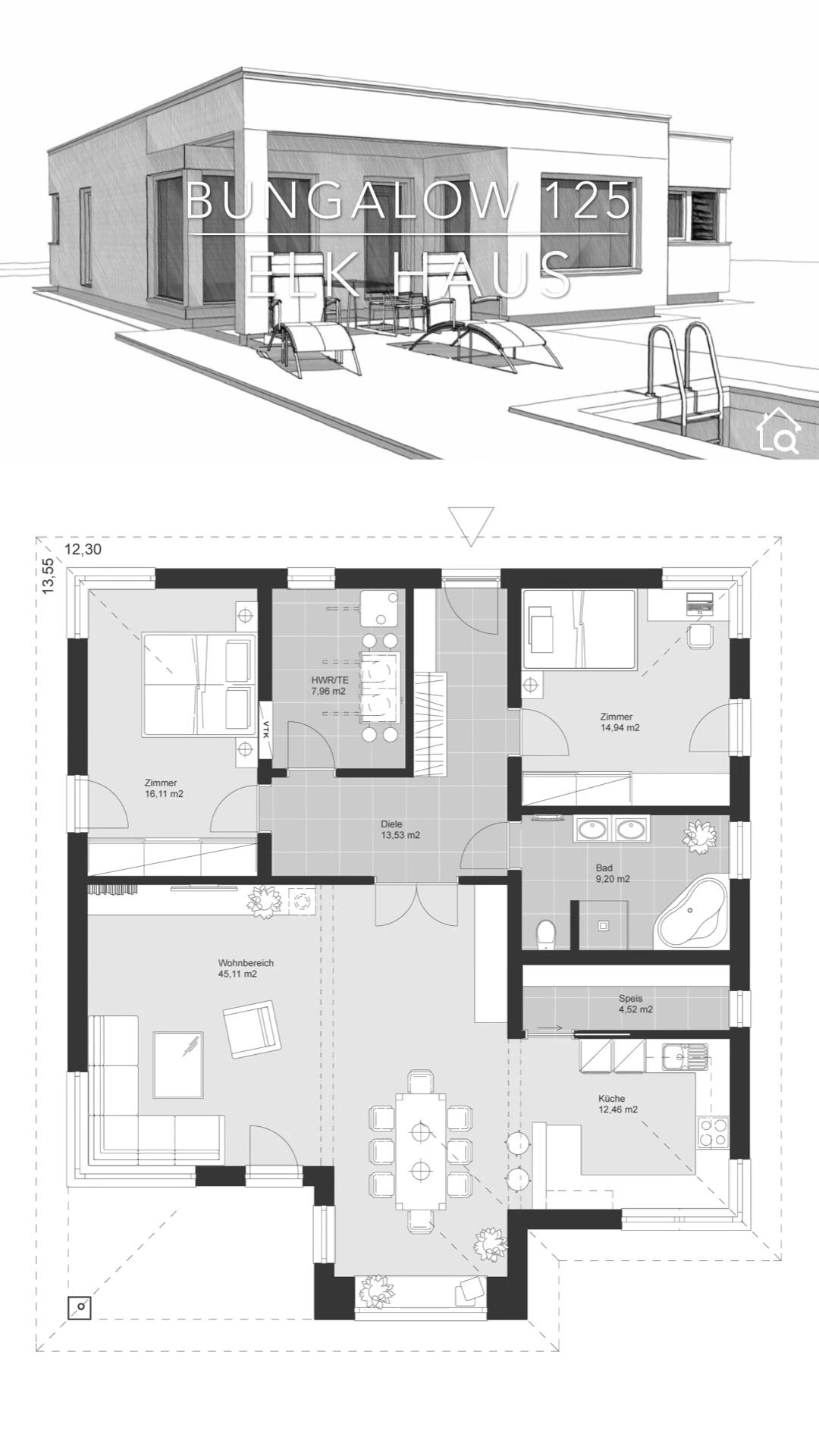 Fertighaus Bungalow Haus Grundriss modern mit Flachdach Architektur im Bauhausstil