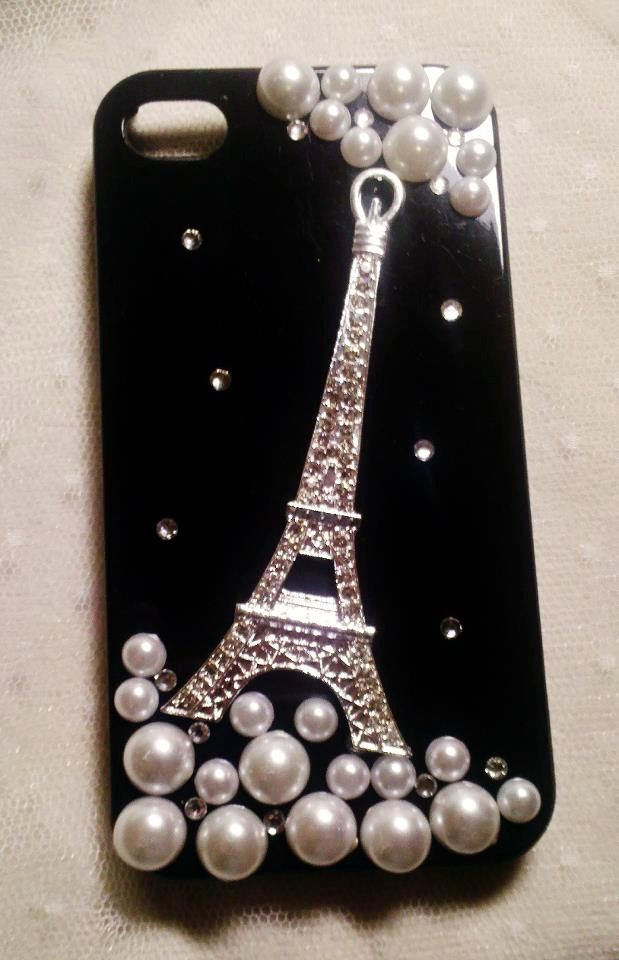 Diy Handmade Lace Pearl Phone Case V. Sparkling French Eiffel Tower (Black) for iPhone 4 4S Galaxy S2 Note Other Phones. $22.99, via Etsy.