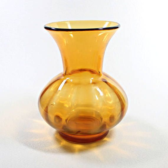 Vintage Amber Glass Vase