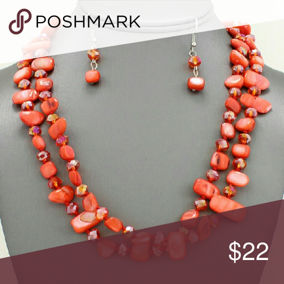 "Double Row Shell & Glass Necklace Set Red 18"" +3"" Extension Shell and Glass Earrings included Jewelry Necklaces"