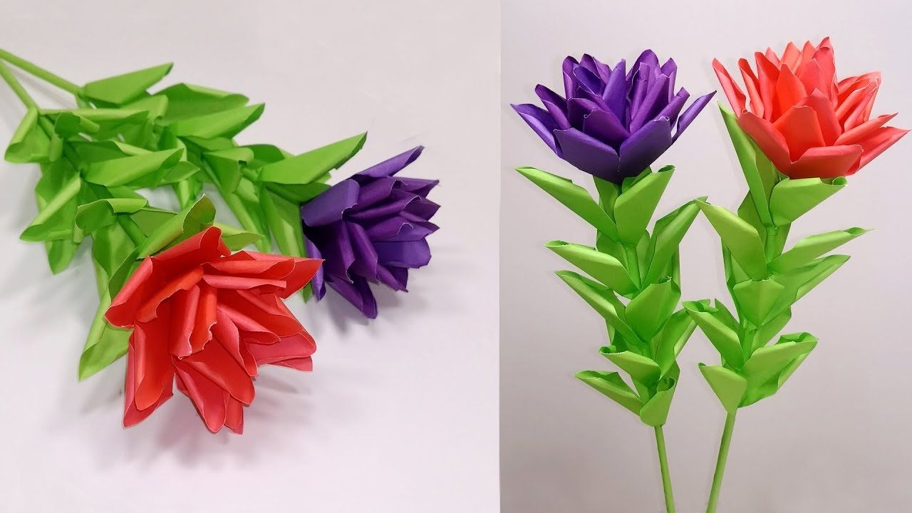 Paper Flowers Paper Stick Flower Idea For Home Decoration Easy