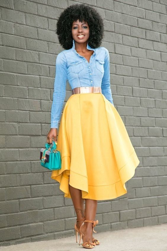 8acb22490089fd Cute blue denim shirt and yellow skirt. Love, love, love the outfit and  color choice. This style just boost your positive energy. Agree?
