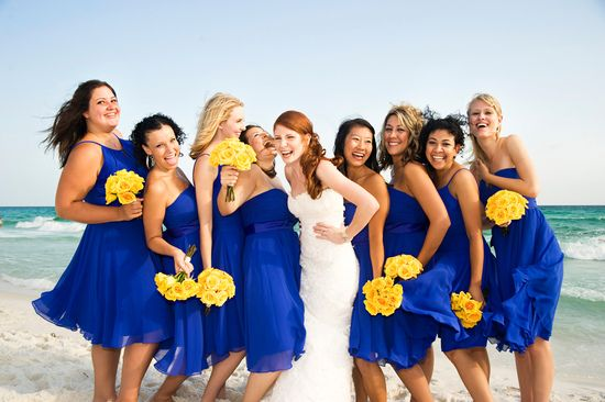 Bright Blue Bridesmaids Dresses With Yellow Bouquets Great For A Beach Wedding Onewed Blue Bridesmaids Blue Yellow Weddings Royal Blue Wedding