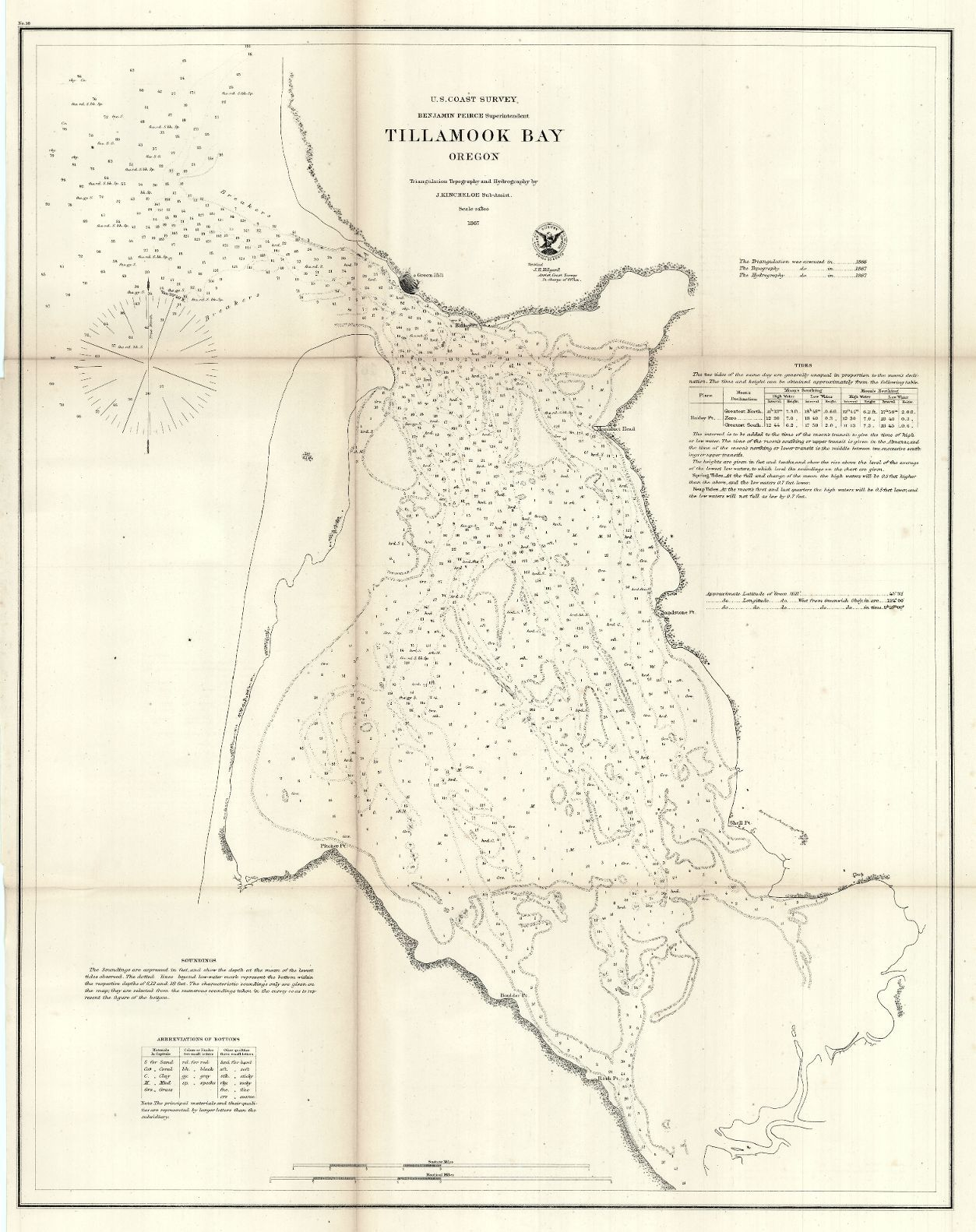 Map Antique  Tillamook Bay Oregon  Government Land Office