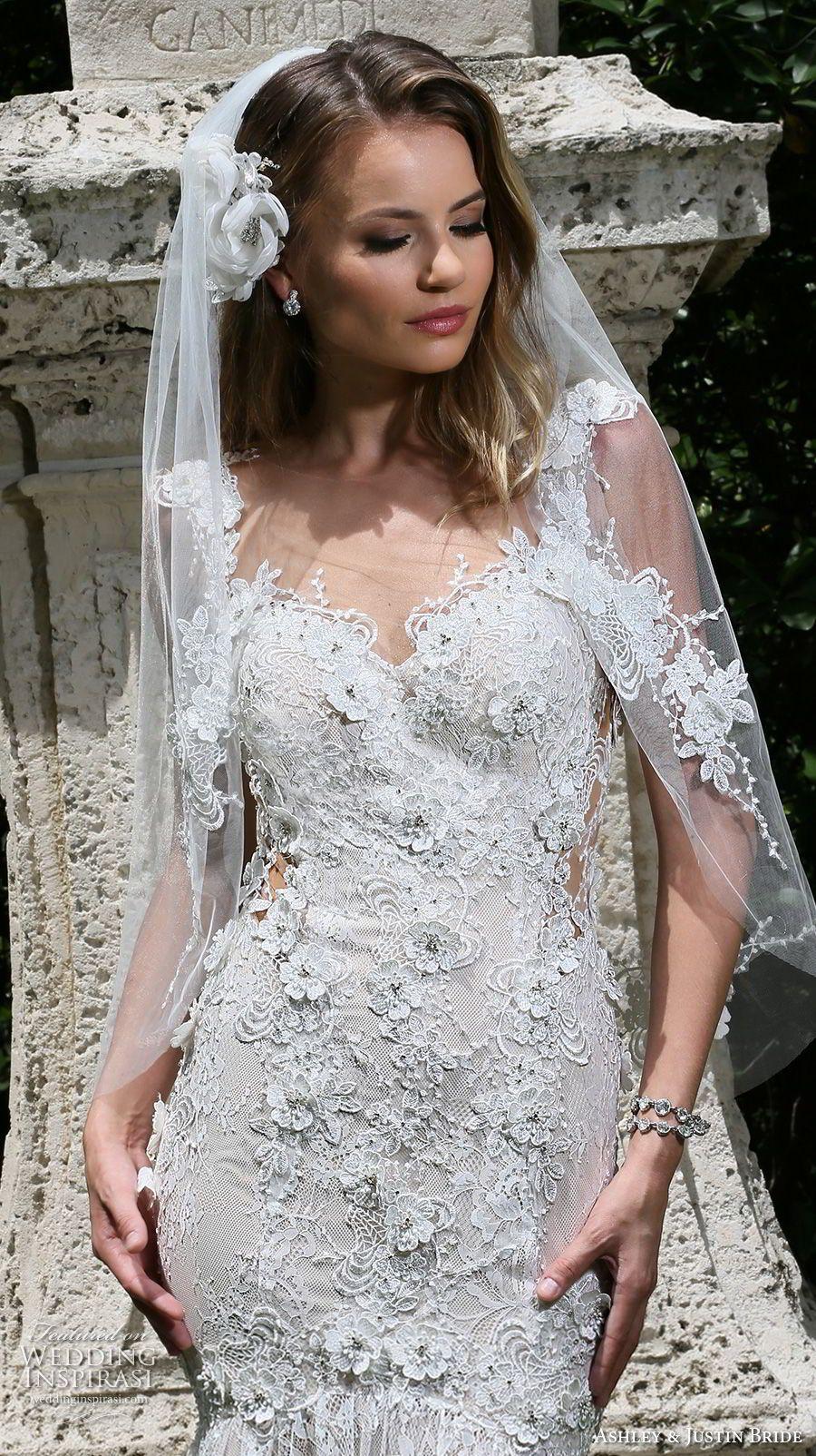 ashley justin frühling 2018 bridal cap ärmeln schatzausschnitt volle ...