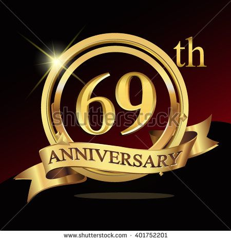 69th golden anniversary logo, 69 years anniversary celebration with ring and ribbon. - stock vector