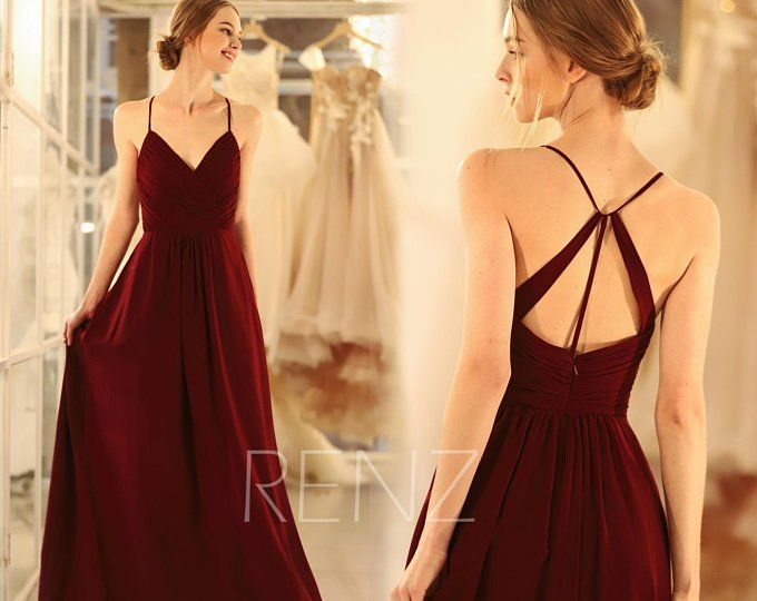 Wedding Dress Boho Lace Burgundy Bridesmaid Dress Long Backless Spaghetti Strap Bridesmaids Dresses (H549A)