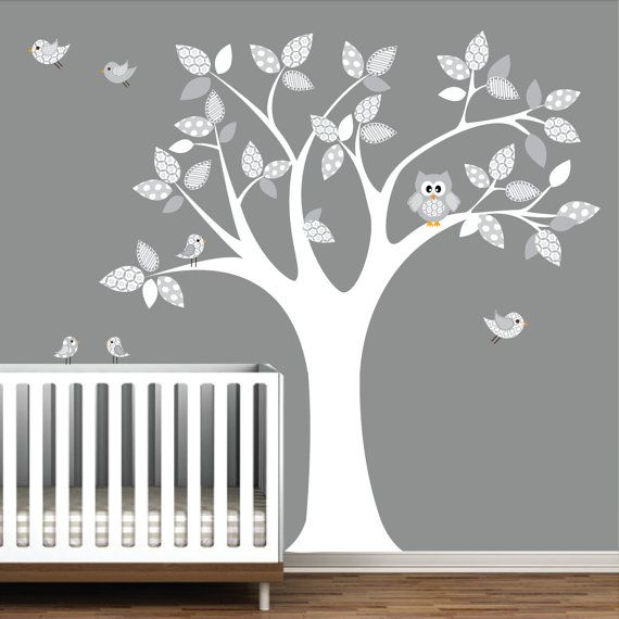 Vinyl Wall Decal Nursery Tree With Owl Birds Pattern E22