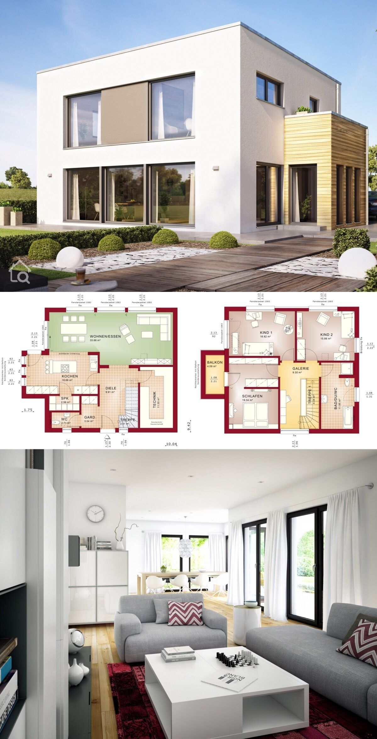 Einfamilienhaus modern mit Flachdach Architektur im Bauhaus Stil ...