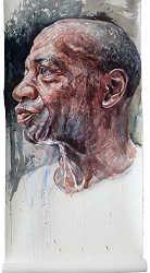 Luiz | schilderij van een man in aquarel van Herman van Hoogdalem | Exclusieve kunst online te koop in de webshop van Galerie Wildevuur