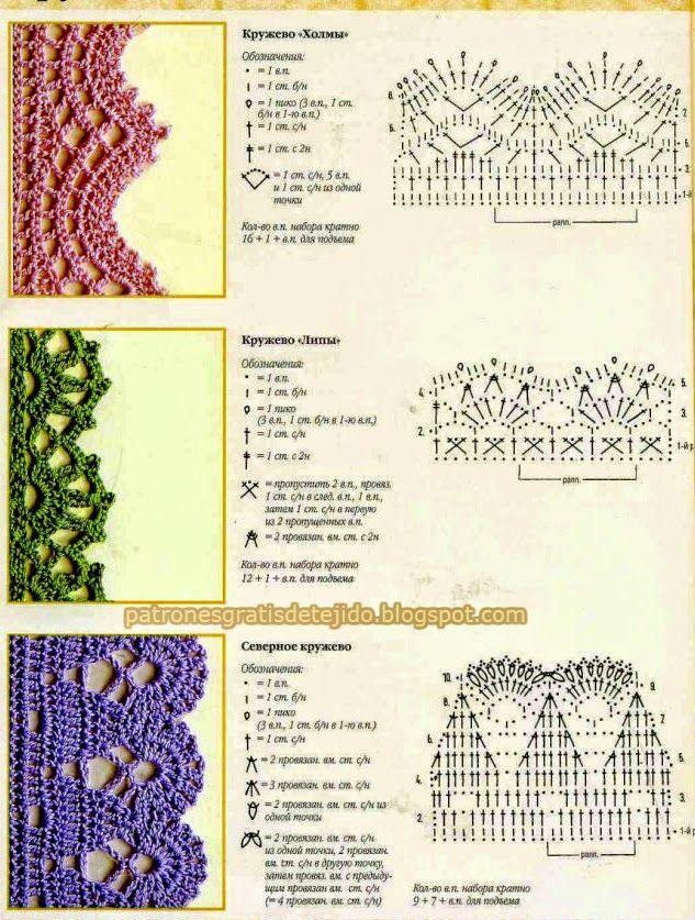 3 patrones de puntillas nuevas | terminaciones en crochet | Crochet ...