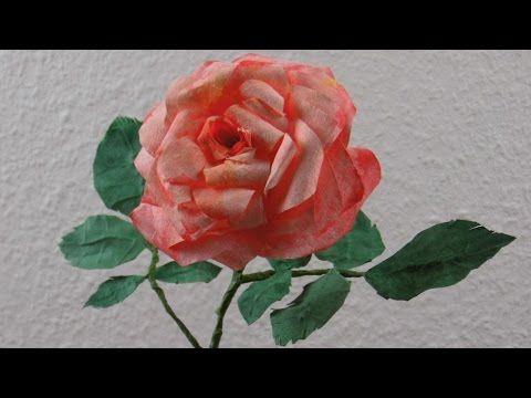 Blumen basteln, romantische Rosenblüten aus Kaffeefilter basteln ...