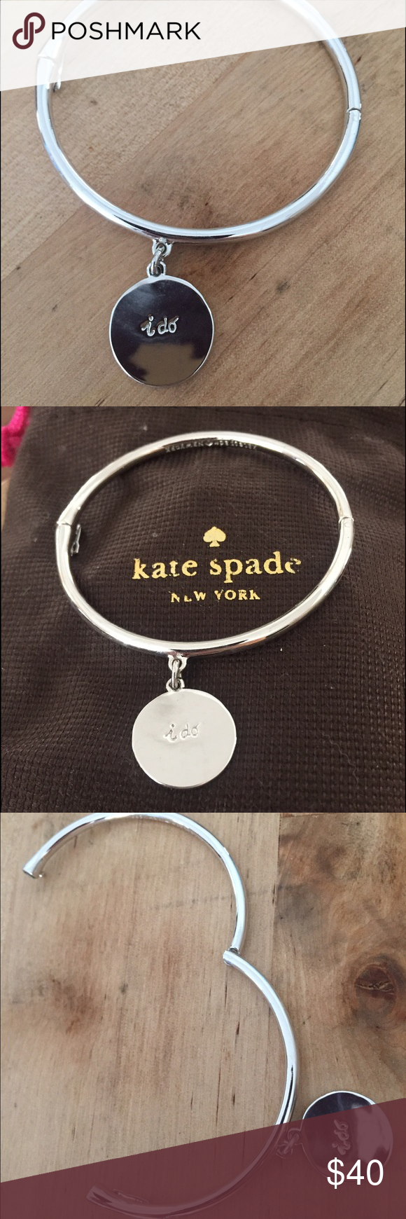 """Kate spade """"I do"""" charm bracelet Worn once or twice. Very cute gift for a newly engaged or married friend/family member! Comes with little dust bag which is only worn from storage. kate spade Jewelry Bracelets"""