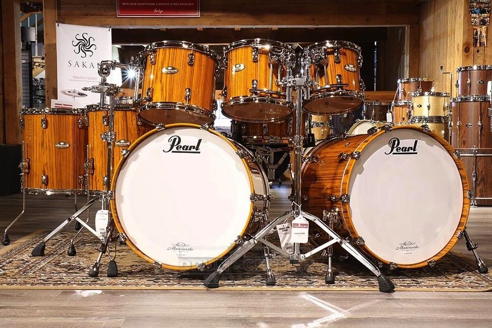 Pearl Masterworks 8pc Stadium Drum Set Tiger Yellow Over Zebrawood