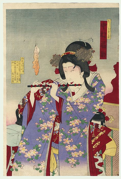 Attractive kabuki portrait of Nakamura Fukusuke as a beauty playing a flute. An orange flickers in the sky at left, a sign of a supernatural event taking place. Chikanobu