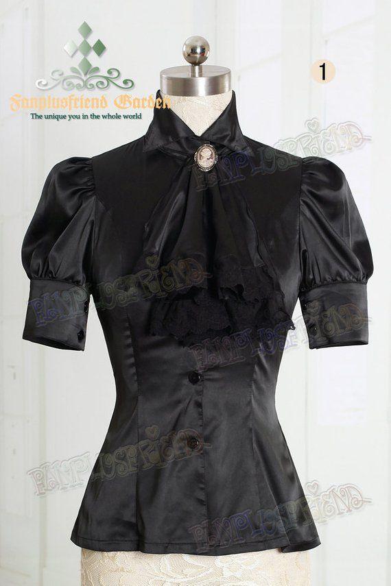b1359e31944a4 Classical Elegant Lolita Dull Silk Short Sleeves Blouse   Jabot ...