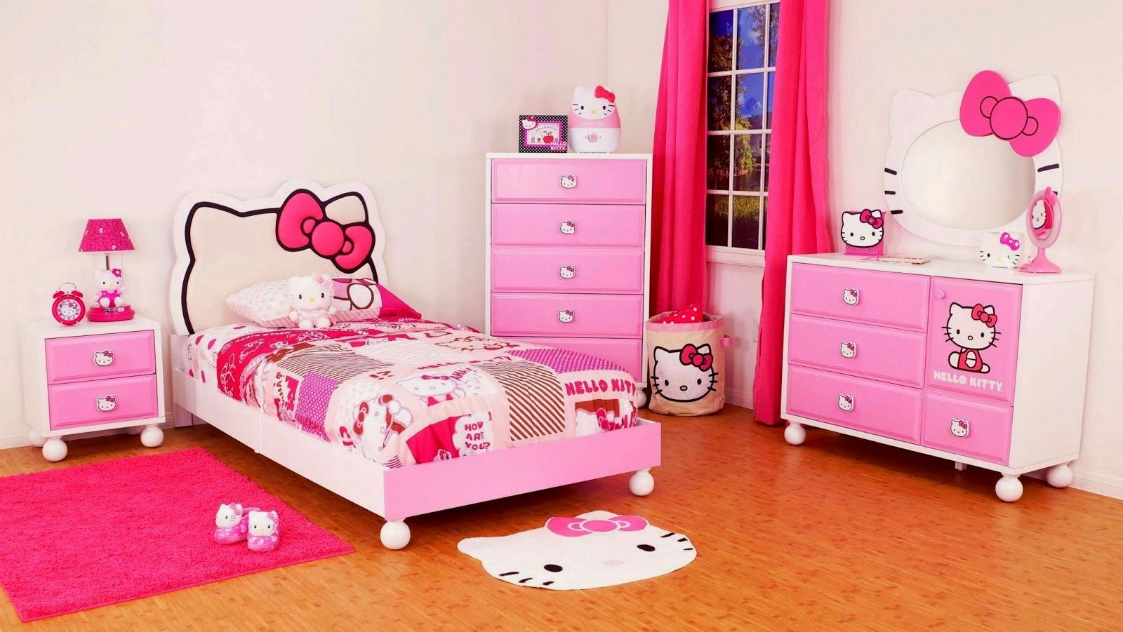 kids room hello kitty theme bedroom ideas with bed linen also red fur rug and pink white lacquered wood chest of drawer besides natural