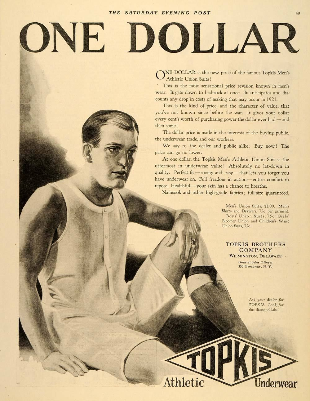 9f19302b707 1921 Ad Topkis Underwear Mens Athletic Union Suits Original Advertising