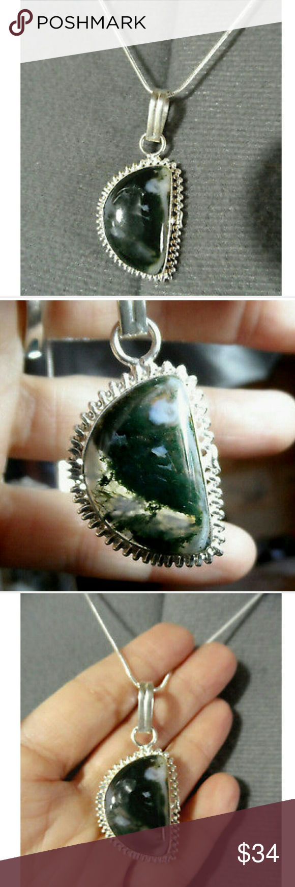 New moss agate moon pendant necklace set moss agate moon