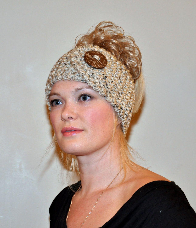Headband Head wrap Ear warmer Warm Hair Band Button Oatmeal Beige ...