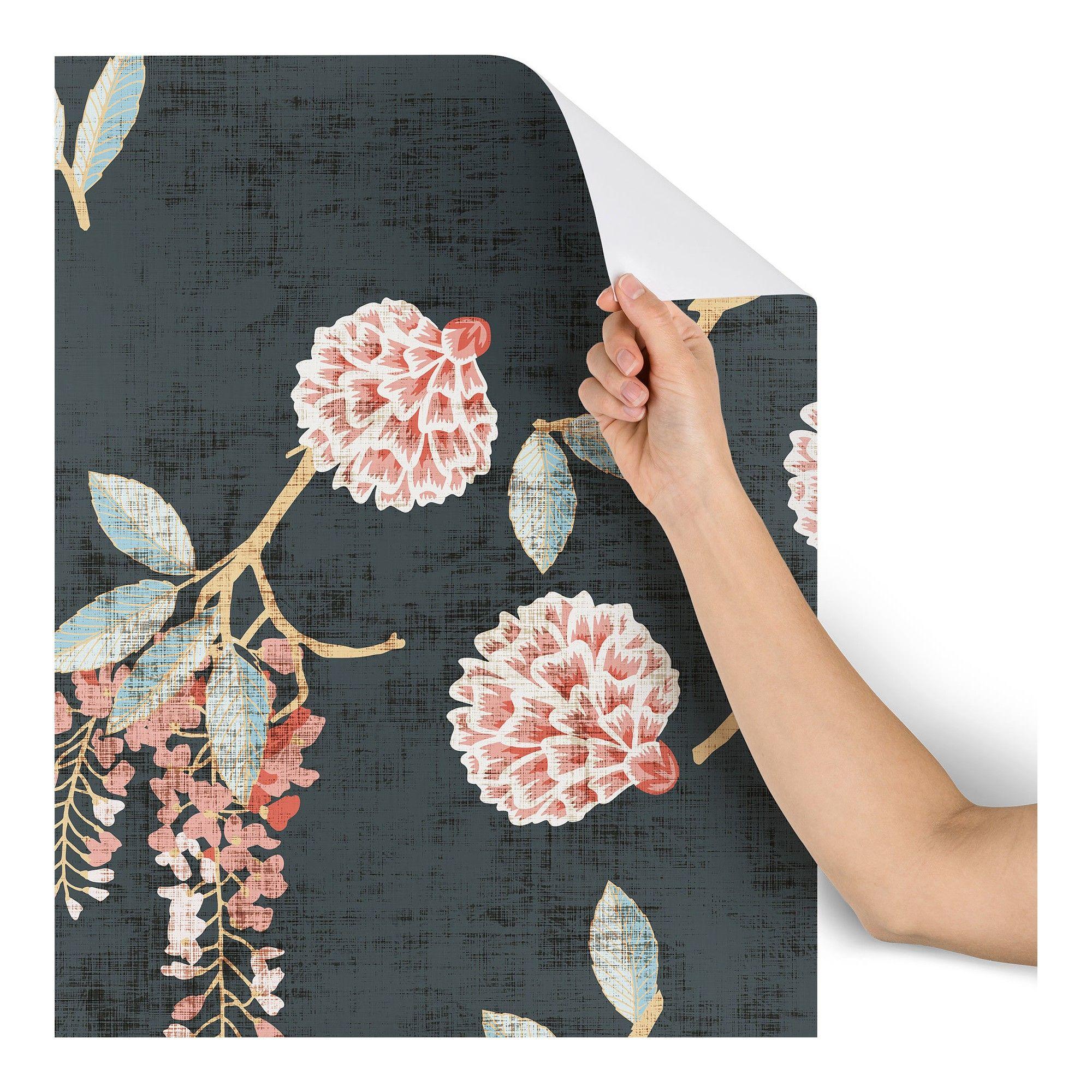 2 X8 Holli Zollinger Floralista Wallpaper Black Deny Designs Deny Designs Peel And Stick Wallpaper Room Wallpaper