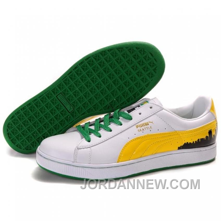 Puma Suede Fat Lace In WhiteYellowGreen Cheap To Buy