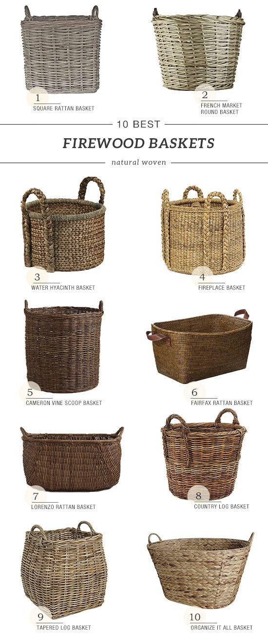 Grey Fireside Round Medium Log Basket Wicker Rattan Stove Wood Toy Storage