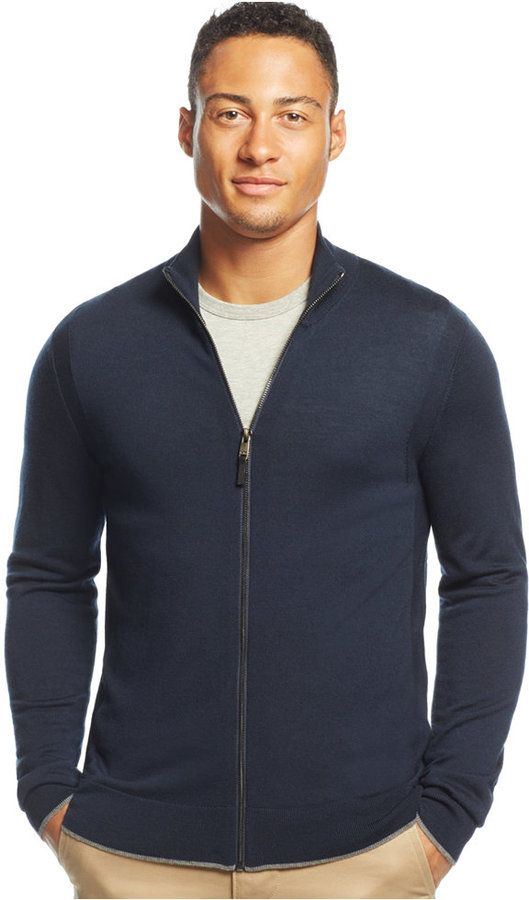 Mens Khaki Zipped Cardigan Jacket in Merino Wool