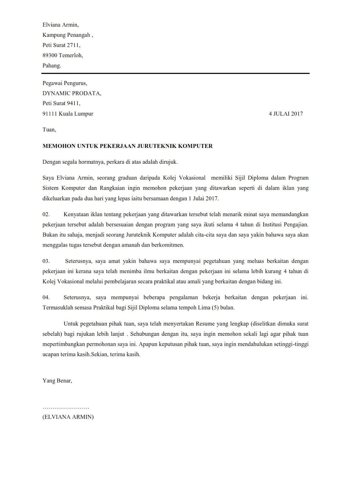 Contoh Surat Permohonan Kerja Yang Ringkas Surat Subjek