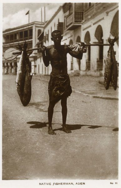 Photograph-Native fisherman in the street, Aden-7″x5″ Photo Print made in the USA