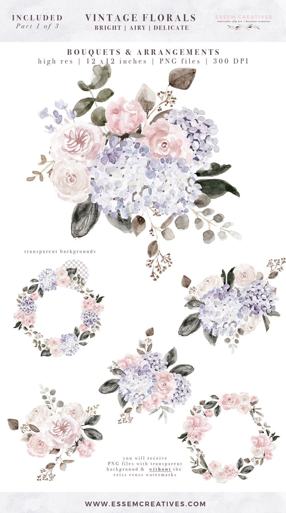 Vintage Watercolor Floral Graphics Clipart Dusty Purple Mauve