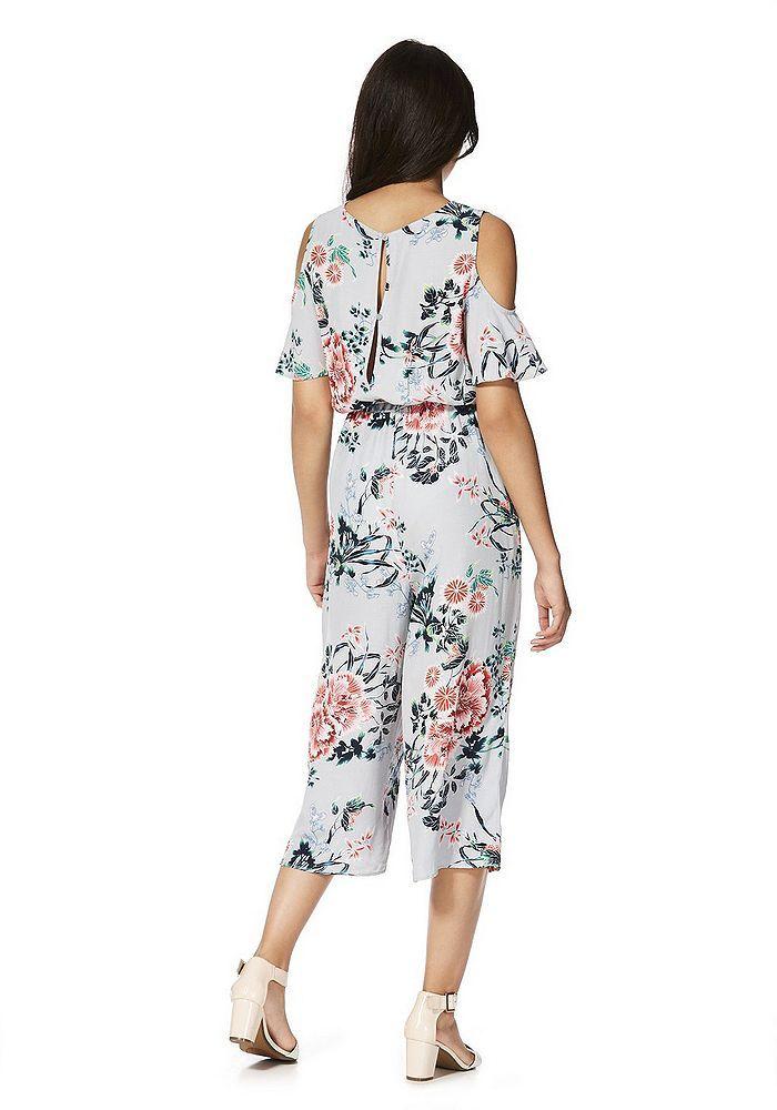 39817a2bbfe Tesco direct  F F Cherry Blossom Print Cold Shoulder Culotte Jumpsuit