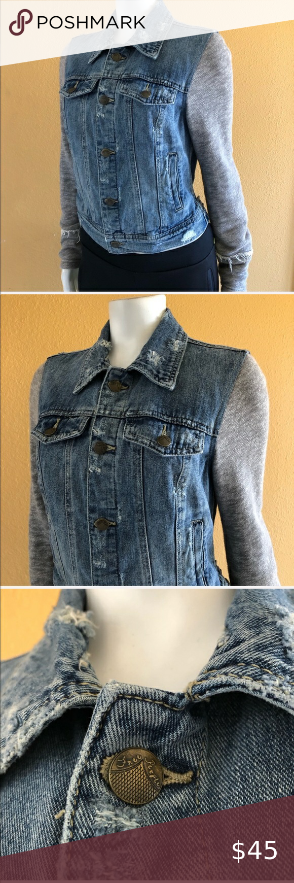 Free People Jean Jacket Size Xs In 2020 Distressed Denim Jacket Free People Jean Jacket Distressed Denim