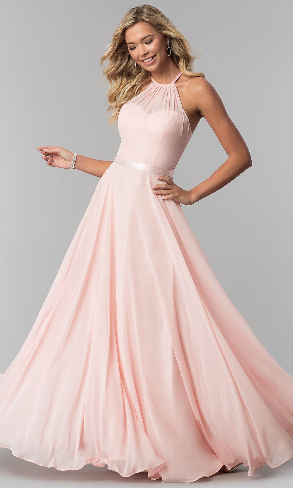 0146c62b2984 A-Line High-Neck Chiffon Formal Long Prom Dress in 2019 | Bridesmaid ...