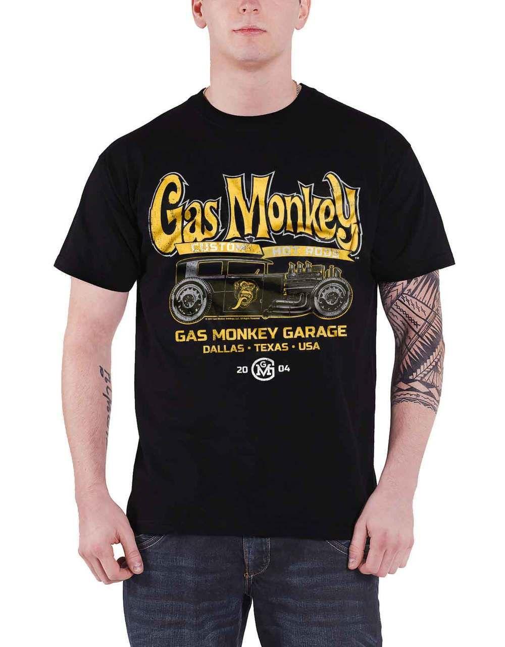 Gas Monkey Garage T Shirt Green Hot Rod GMG Logo new Official Mens Black