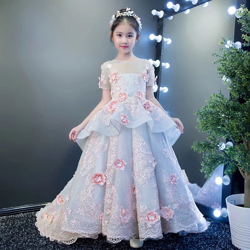 94563c1faaece 2018 New Children Girls Elegant Embroidery Flowers Birthday Wedding ...