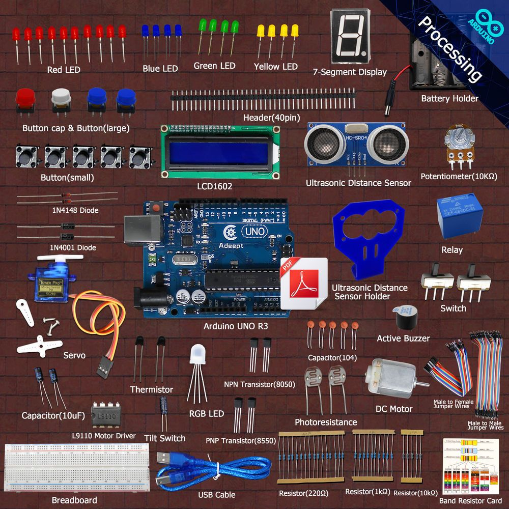 New Ultrasonic Distance Sensor Starter Learning  kit for Arduino UNO R3 servo  #Adeept
