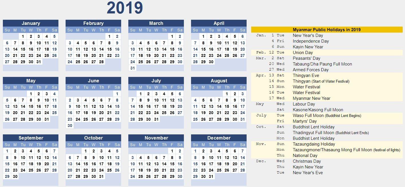 Free Myanmar Calendar 2019 Pdf Excel Word Template Printable