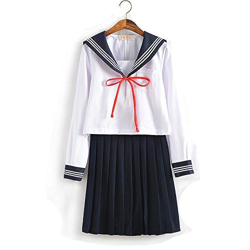 Lucky2buy Womens Japanese High School Uniform Anime Cosplay Jk Costume Set Sailor Suit For Girls Long Sleeve White Student Fashion Girl Fashion Kawaii Clothes