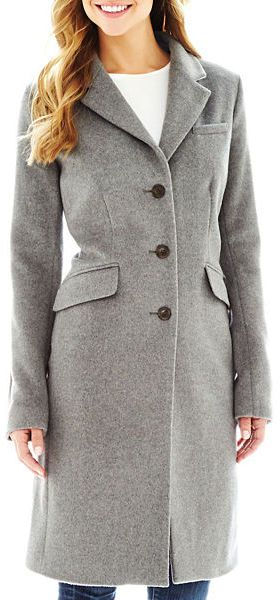 $220, Grey Coat: Liz Claiborne Wool Blend Chesterfield Coat Tall. Sold by jcpenney. Click for more info: https://lookastic.com/women/shop_items/133008/redirect