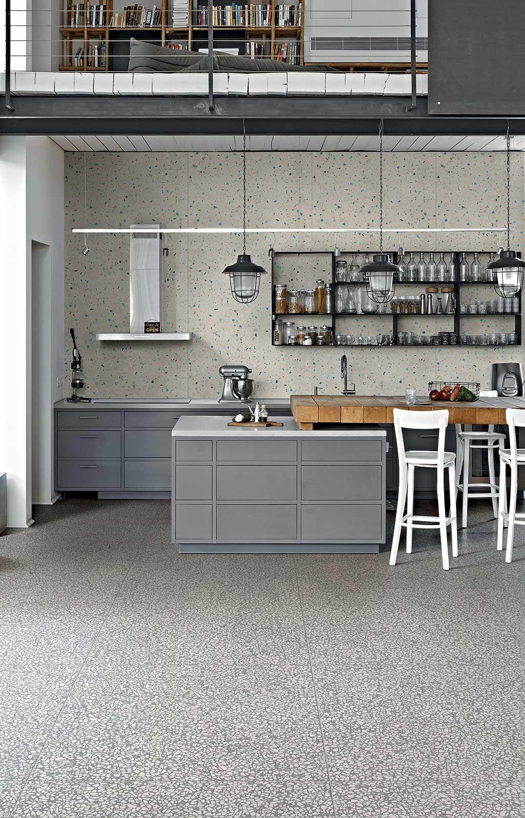 Cuisine Style Industrielle Carrelage Imitation Terrazzo Gris