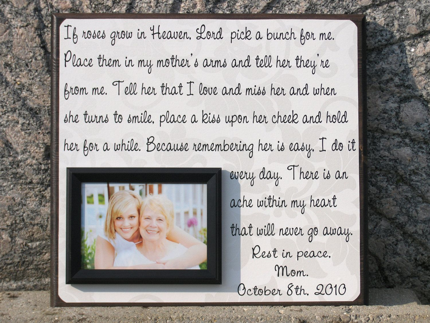 Personalized Memorial Picture Frame Gift Pa In Memory Of Wedding Mother