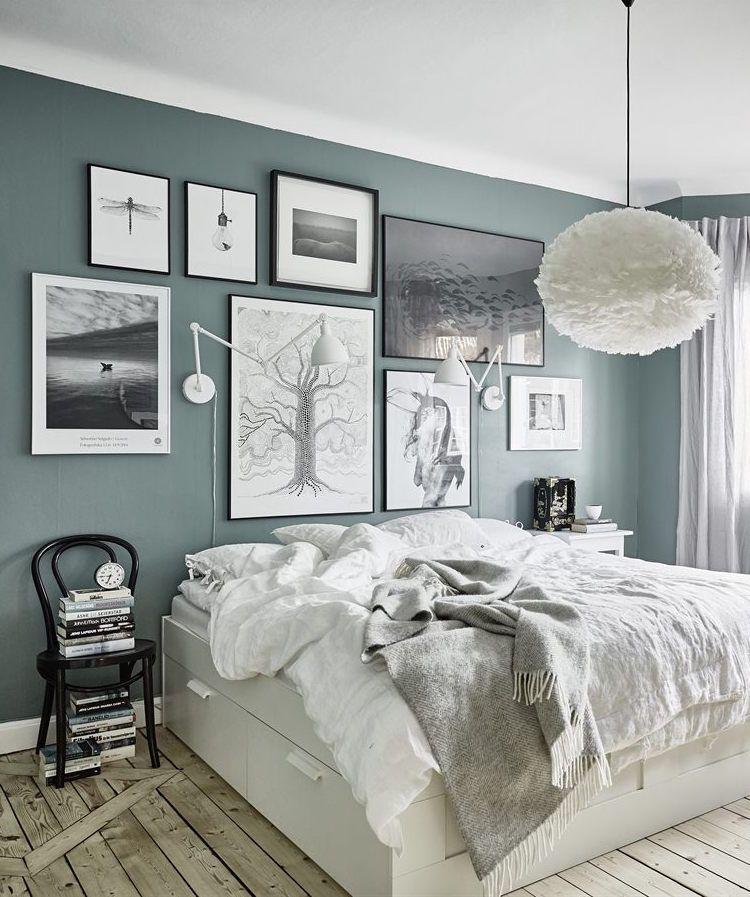 Grey Green Walls Zuhause Schlafzimmer Inspiration Wohnung