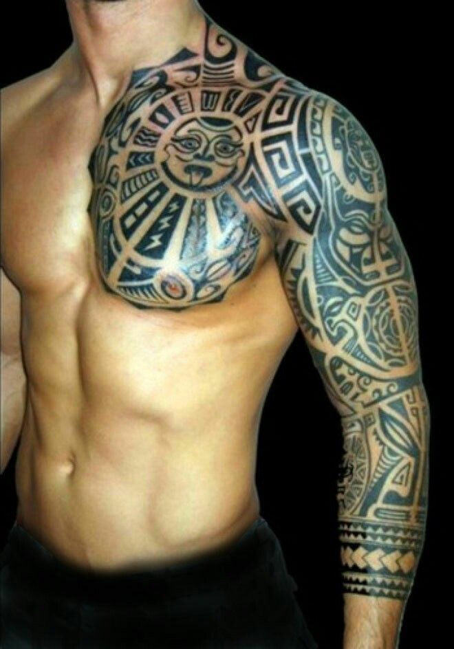 Aztec Sleeve : aztec, sleeve, Aztec, Calender, Chest, Sleeve, Tattoo, Tribal, Tattoos,, Tattoos