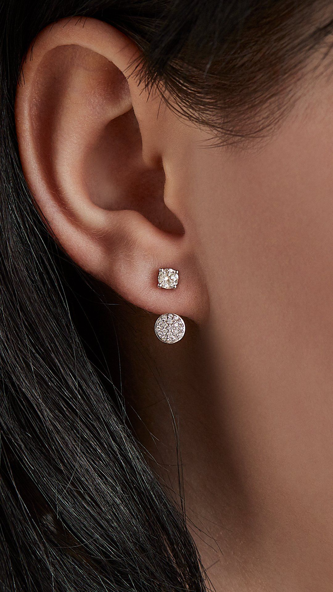 Diamond Stud And Pave Disc Ear Jacket In 14k White Gold 1 2 Ct Tw Blue Nile Diamond Studs Ear Jacket Diamond Diamond