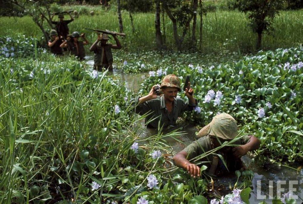 Patrol crossing a wetland.