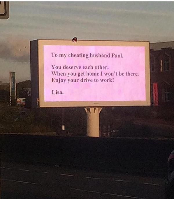 Woman Dumps Cheating Husband With An Amusing Billboard Along His Commute